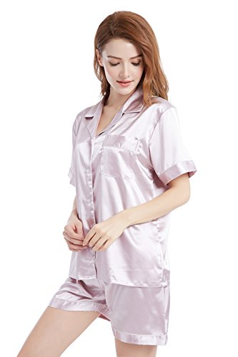(TONY AND CANDICE Womens Satin Sleepwear Short Sleeve Pajamas Set Button Down Nightwear (Large, Pink with White Piping))
