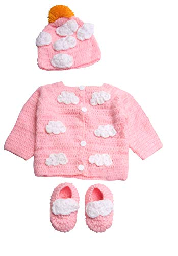 Newborn Cozy Warm Baby Sweater Set -Hand Made Baby Crochet Set -Pink/Blue Knit Cardigan Booties & hat Gift Set (0-6 Month, Pink White)