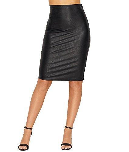 commando Women's Faux Leather Perfect Pencil Skirt SK01 Black ()