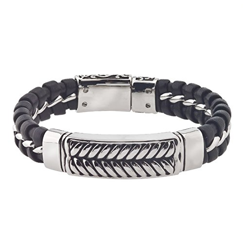 AX Jewelry Mens Leather ID Bracelet in Stainless Steel