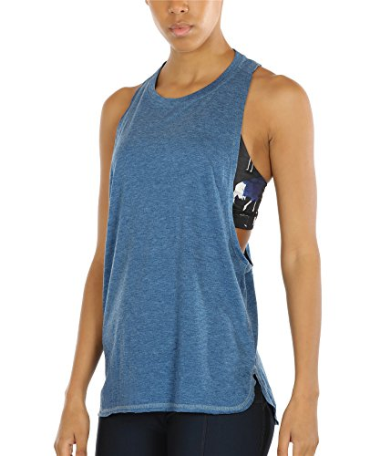 (icyzone Yoga Tops Activewear Workout Clothes Sports Racerback Tank Tops for Women (M, Denim))