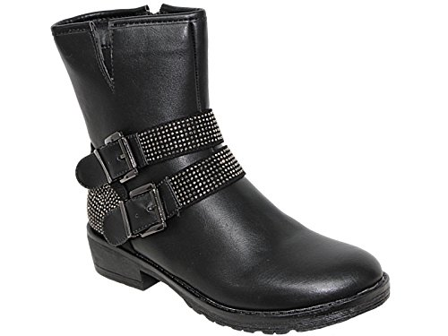 Foster Footwear Ladies Faux Leather Black Buckle Flat Casual Winter Fashion Calf Length Biker Ankle Boots Size 3-8 Black 312 Ie2DsrL