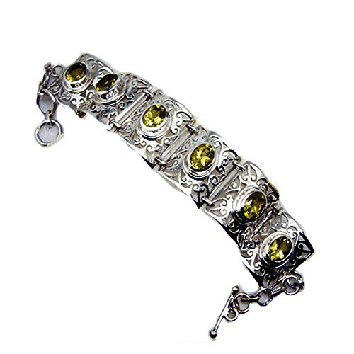 55Carat Genuine Lemon Quartz Silver Bracelet Gift for Women Chakra Healing Bangle Style Toggle Clasp L 6.5-8 Inch