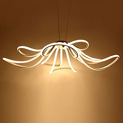 Modern LED Pendant Light Acrylic Flower Shape Hanging Lamp Living Room Bedroom Chandelier - Remote Control Dimming