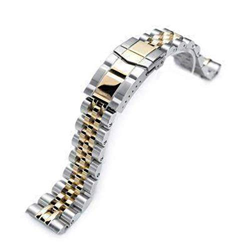 (Strapcode 22mm Angus Jubilee 316L Stainless Steel Watch Bracelet for Seiko Turtle SRP775, Two Tone IP Gold, Submariner Clasp)