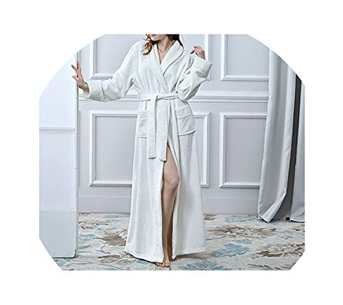 Women Men Thermal Luxury Flannel Extra Long Winter Sexy Bathrobe Warm Bridesmaid Robes,Women Beige,M]()