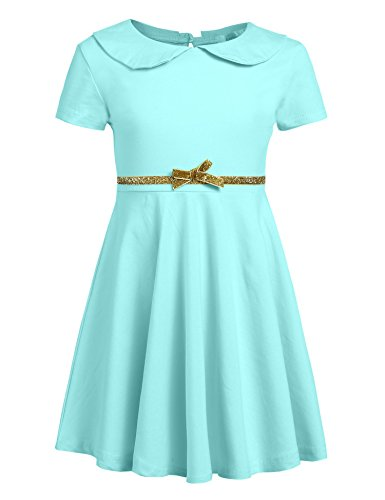 Arshiner Girls Short Sleeve Doll Collar Dress Solid Color A Line Peter Pan Collar Cotton Dress,A-sapphire,130(Age for 8-9 years)
