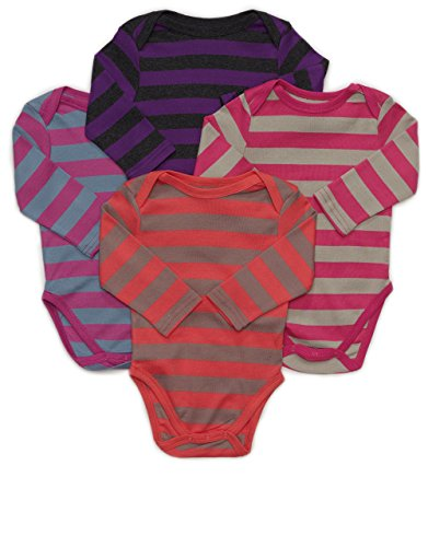 Leveret Long Sleeve 4-pack Striped Baby Girls Bodysuit 100% Cotton (Size 0-24 (Striped Body)