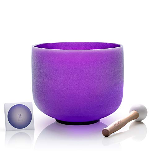 TOPFUND Quartz Crystal Singing Bowl B Note Crown Chakra Purple Color 8 inch,O-Ring and Rubber Mallet included