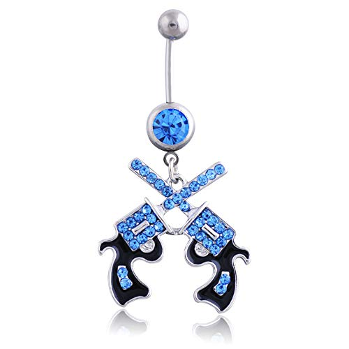 Coscn 3Pcs Dangle Belly Button Rings Navel Barbell Body Bar for Women 14G Stainless Steel Dangling