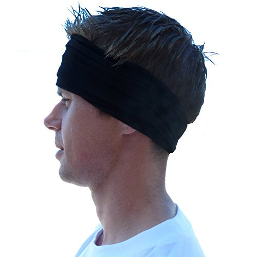 Mens Headband and Sweatband. Stretch Moisture Wicking, Best Yoga and Sports Headbands for Men and Women. Optimize your Athletic Performance!
