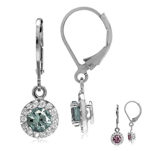 - Simulated Color Change Alexandrite&White CZ Gold Plated 925 Sterling Silver Halo Leverback Earrings