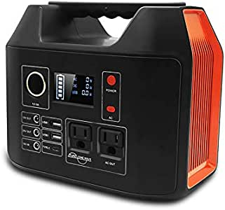 Portable Power Station, Meterk 300W Solar Generator, Lithium Battery Emergency Power Station with 2 AC Outlet 2 DC 3 USB Ports, Power Supply with Flashlight for Outdoor Advanture Camping Travel