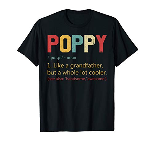 Mens Vintage Poppy Definition Tshirt Fathers Day Gifts For Dad