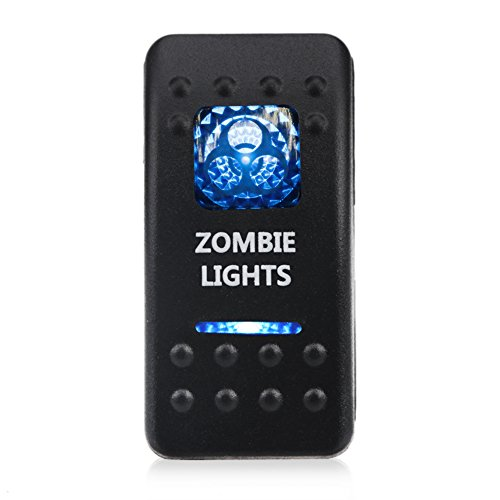 WATERWICH 5 Pin Zombie Lights Illuminated Rocker Toggle Switch Waterproof DC 20A 12V/10A 24V Blue/ON-Off SPST Rocker Switch for Auto Truck Boat Marine RV Off Road (Zombie Lights)