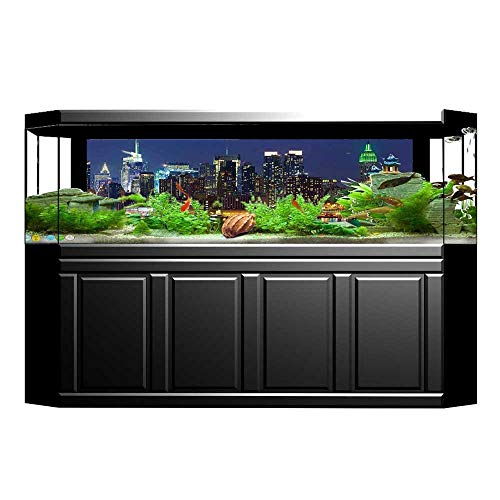 "UHOO2018 Aquarium Collage Decor NYC Midtown Skyline in Evening Skyscrapers Amazing Metropolis City States Photo Roya Paper Fish Tank Backdrop Static Cling Wallpaper Sticker 29.5""x11.8"""
