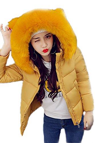 Caldo Breve Felpa Yellow Le Trapuntato Cerniera Donne Giacconi Cappotto Una Peloso Faux A Inverno xXPH0Xq