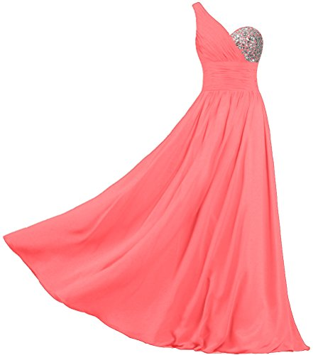 Prom Women's Long One Dresses Chiffon Shoulder ANTS Gowns Coral Evening wASTqIpq