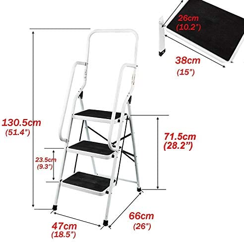 2 Stufen Leiter Tragbare Sicherheitsleiter Trittleiter aus Stahl Klappbarer Rutschfester 330Pfund Kapazit/ät Einhand Tragehocker Leichtgewicht