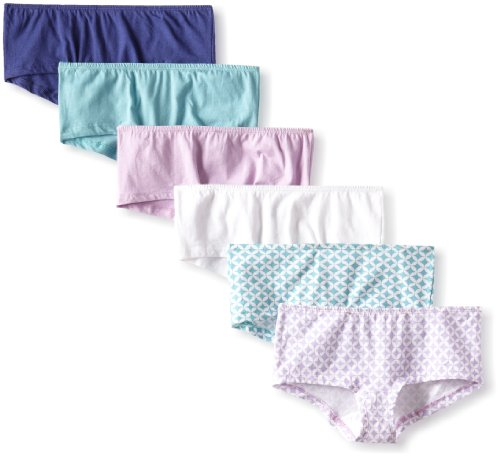 Fruit of the Loom Women's 6 Pack Cotton Boyshort Panties, Assorted, 9