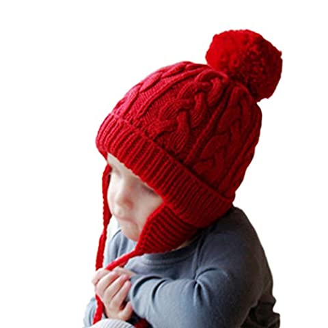 Raylans Baby Toddler Kids Warm Double Fur Pom Crochet Knit Beanie Hat Cap (Red) - Homemade Crochet