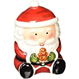 Cosmos Gifts 56521 Santa with Gingberbread Man Cookie Jar, 7-1/8-Inch