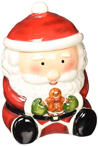 Cosmos Gifts 56521 Santa with Gingberbread Man Cookie Jar, 7-1/8-Inch ()