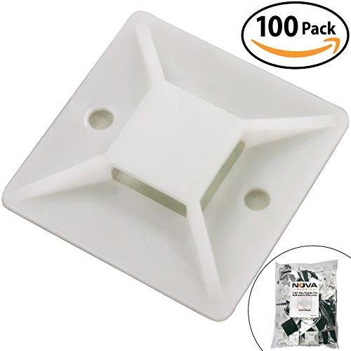 Super-Adhesive X-Large Cable Tie Mounts 100 Pack For Fast, Frustration-Free Wire Management. Anchor These Zip Tie Bases Tools-Free With Sticky Backs Or Use Screw-Holes For Permanent Hold (Permanent Bracket)