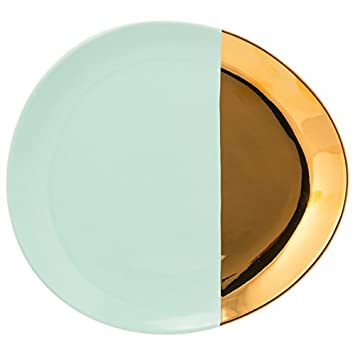10 Strawberry Street Turquoise and Gold Porcelain 2-tone Oval Dinner Plate (Case of  sc 1 st  Amazon.com & Amazon.com | 10 Strawberry Street Turquoise and Gold Porcelain 2 ...