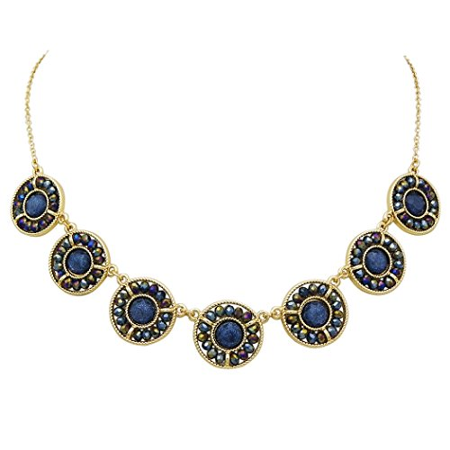 Father Of The Year Halo Costume (Rosemarie Collections Women's Montana Blue Beaded Crystal Statement Collar Necklace)