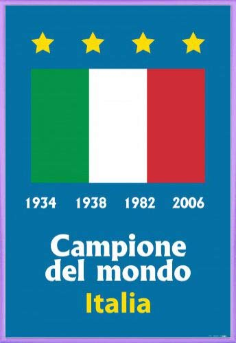 Cup World Italy Champions - 1art1 Football Poster and Frame (Plastic) - Italy World Cup Champion 1934 1938 1982 2006 (36 x 24 inches)
