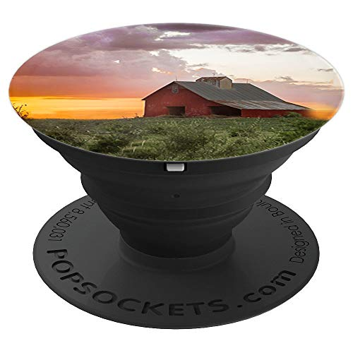 Red Barn Picture at Sunset - PopSockets Grip and Stand for Phones and Tablets