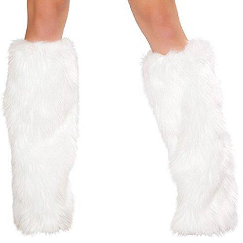 Mystiqueshapes Women Sexy Fuzzy Fluffy Furry Leg Warmers (Adult, White) (White Fluffy Leg Warmers)