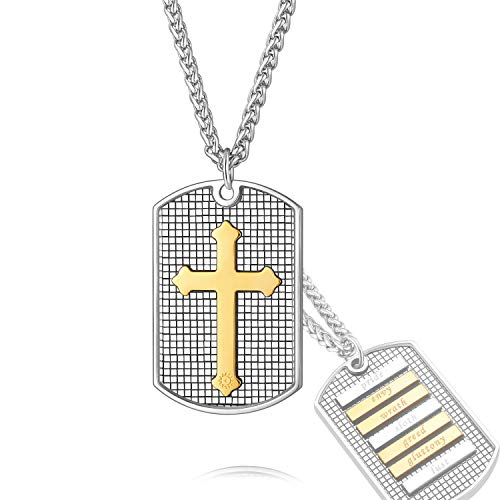 Stainless Steel Bible Seven Deadly Sins Necklace Crucifix Dog Tag Pendant Lord Jesus Christian Jewelry