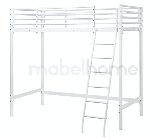 mabel home metal frame loft bed white twin size - Metal Frame Loft Bed