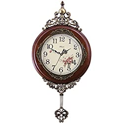 HENSE 13-inch Antique Retro Elegant Decorative Wood Clocks Ultra Mute Silent Quartz Movement Wooden Wall Clock with Swinging Pendulum HP06 (Brown)