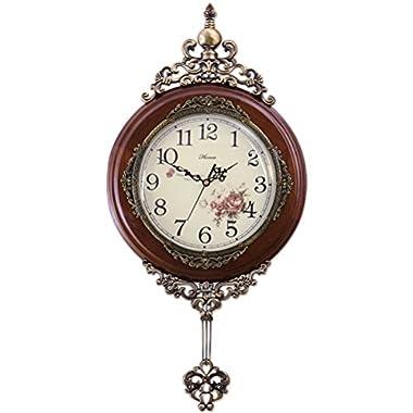 HENSE 13-inch Antique Retro Elegant Decorative Wood Clocks Ultra Mute Silent Quartz Movement Wooden Wall Clock with Swinging Pendulum HP06 (Brown)