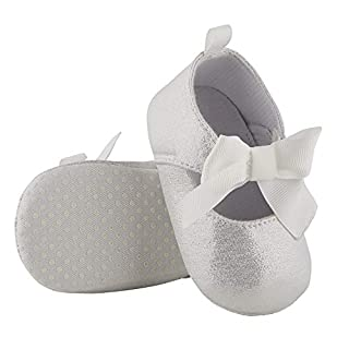 Stephan Baby Twinkle Toes Party Shoe-Style Foot Finders, Silver Metallic, Fits 6-12 Months
