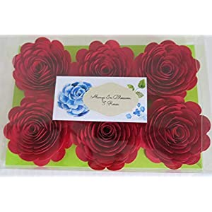 Bright Red Paper Flowers, 3 Inch Roses, Set of 6, Wedding Table Centerpiece, Love Theme Party Decorations, Bridal Shower Decor 3