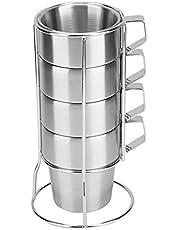 4 Stks RVS Koffie Beker, Duurzame Koffie Cup Mok Met Bekerhouder voor Thuis Koffiewinkel Gebruik