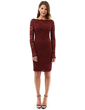PattyBoutik Women's Boatneck Sweetheart Floral Lace Dress (Burgundy S)