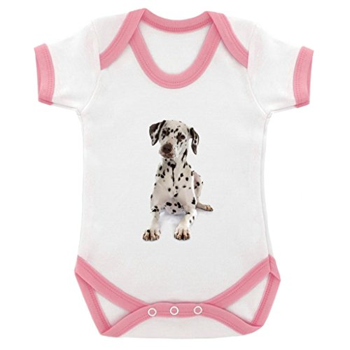 Dalmation Image Baby Bodysuit White with Pink Trim