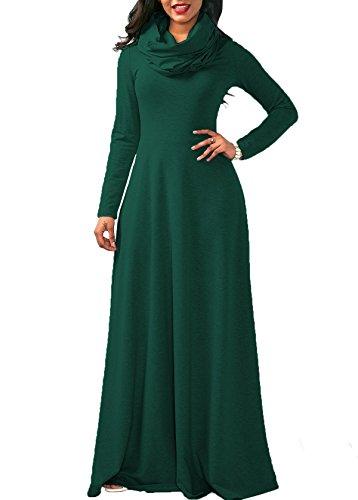 Sleeve Bigyonger Womens Long Cowl Dress Pockets Deep green Cotton Maxi Plain Dresses with Fall Neck dwwxqBrIn