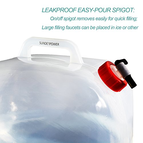 SUNDERPOWER Collapsible Water Container,5-Gallon BPA-Free Portable Water Storage Container for Hiking Camping Picnic Travel BBQ