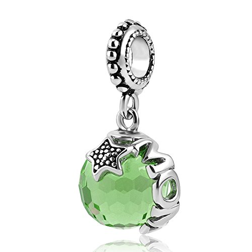 Heart of Charms Mom Charms Murano Glass Ball Stopper Beads Bracelets For Mother's Day (Heart Green Murano Glass Beads)