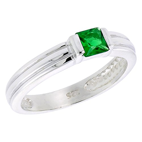 - Sterling Silver Emerald Cubic Zirconia Stack Ring Princess Cut 0.40 ct, size 10