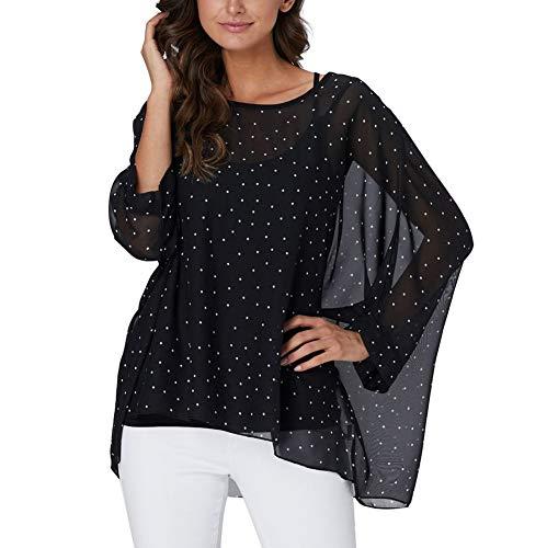 - Myosotis510 Women's Chiffon Caftan Poncho Tunic Top Cover up Batwing Blouse (Z-4325)