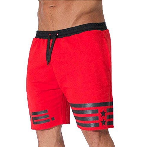 iZHH Men Flag Stars Sporting Beaching Bodybuilding Sweatpants Short Jogger Gyms(Red,33) (Cutoff Sweatpant Shorts)