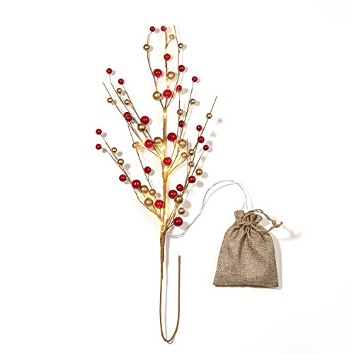 LampLust Red Berry Spray Stem with Warm White LED Lights, 26 Inch Height, Battery Operated, Cordless, Decorative Burlap Bag Included