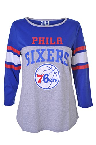 NBA Women's Philadelphia 76ers T-Shirt Raglan Baseball 3/4 Long Sleeve Tee Shirt, Medium, Blue